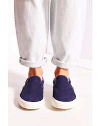 Vans - Blue Classic Knit Suede Slip-on Women's Sneaker - Lyst