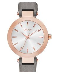 DKNY - Gray 'stanhope' Leather Strap Watch - Lyst