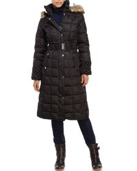 Betsey Johnson - Brown Faux Fur Trim Puffer Coat - Lyst