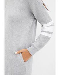 Forever 21 - Gray Varsity-striped Sweatshirt Dress - Lyst
