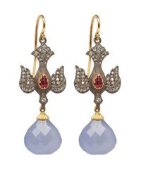 Arman Sarkisyan | Blue Chalcedony and Ruby Drop Earrings | Lyst