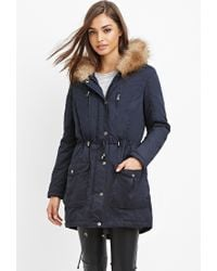 Forever 21 - Blue Faux Fur-trim Hooded Parka You've Been Added To The Waitlist - Lyst
