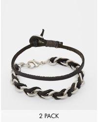 ASOS - Woven Bracelet Pack In Black With Khaki for Men - Lyst