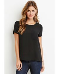 Forever 21 | Black Pocket Chiffon Top | Lyst