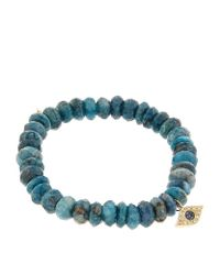 Sydney Evan | 8mm Faceted London Blue Quartz Beaded Bracelet With 14k Gold Pyramid Evil Eye Charm | Lyst