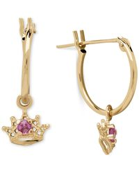 Macy's - Pink Sapphire Accent Dangle Crown Earrings In 14k Gold - Lyst