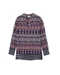 Tory Burch - Blue Cotton Crochet Tunic - Lyst