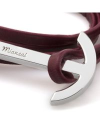 Miansai | Purple Burgundy Leather Silver Anchor Bracelet for Men | Lyst
