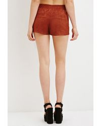 Forever 21 | Brown Perforated Faux Suede Shorts You've Been Added To The Waitlist | Lyst