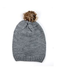 Michael Stars | Gray Acrylic Knit Slouch Hat With Faux Fur Pom | Lyst