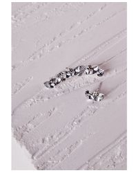 Missguided | Metallic Crystal Ear Cuff Stud Set Silver | Lyst