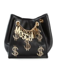 Moschino - Black Logo Chain Backpack - Lyst
