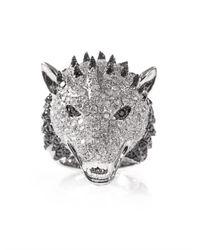 Elise Dray - Metallic Diamond and Whitegold Wolf Ring - Lyst