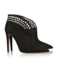 Aquazzura - Black Disco Studded Suede Ankle Boots - Lyst
