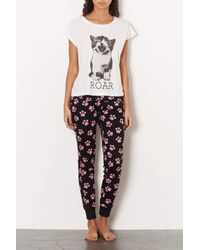 TOPSHOP - White Cat Print Pyjama Set - Lyst