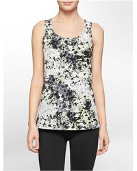 Calvin Klein | Gray White Label Performance Watercolor Print High Low Tank Top | Lyst