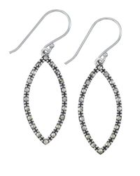 Lord & Taylor | Metallic Sterling Silver And Marcasite Open Marquise Drop Earrings | Lyst