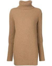 Belstaff - Brown Funnel Neck Sweater - Lyst