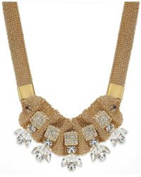 ABS By Allen Schwartz | Metallic Rhinestone And Mesh Collar Necklace | Lyst