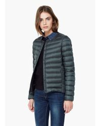 Mango - Green Quilted Feather Coat - Lyst