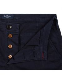Paul Smith | Green Men's Navy Stretch-cotton Twill Shorts for Men | Lyst