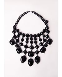 Missguided - Black Statement Multi Tiered Necklace - Lyst