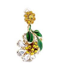 Dolce & Gabbana - Metallic Crystal-embellished Hanging Flower Earrings - Lyst