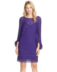 Laundry by Shelli Segal - Purple Stretch Lace Shift Dress - Lyst