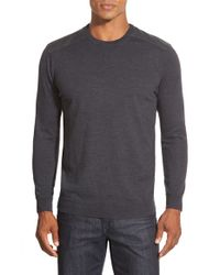 Bugatchi | Gray Merino Wool Crewneck Sweater With Elbow Patches for Men | Lyst