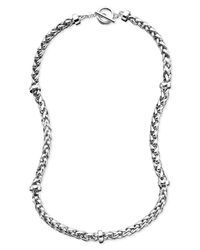 Lauren by Ralph Lauren | Metallic Silver-Tone Mixed Metal Braided Necklace | Lyst