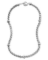 Lauren by Ralph Lauren - Metallic Silver-Tone Mixed Metal Braided Necklace - Lyst