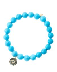 Sydney Evan - Blue 8Mm Turquoise Beaded Bracelet With 14K Gold/Rhodium Diamond Small Evil Eye Charm (Made To Order) - Lyst