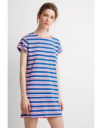 4863dc42121b Forever 21 Contemporary Striped T-shirt Dress in Blue - Lyst