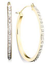 Macy's | Metallic Diamond Accent Hoop Earrings In 14k Gold | Lyst