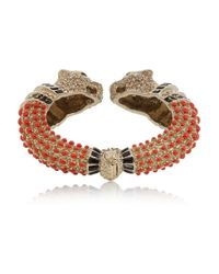 Roberto Cavalli - Metallic Goldtone Crystal and Enamel Cuff - Lyst