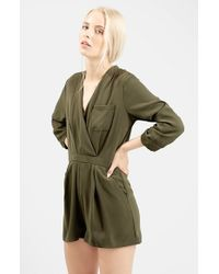 TOPSHOP | Green Wrap Front Romper | Lyst