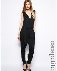 ASOS - Black Exclusive Jumpsuit With Wrap Front - Lyst