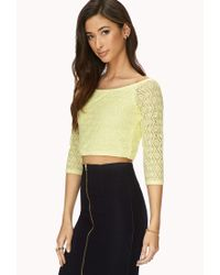 Forever 21 - Yellow Be Seen Open-Knit Crop Top - Lyst