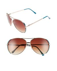 A.J. Morgan | Metallic 'sideline' 61mm Aviator Sunglasses | Lyst