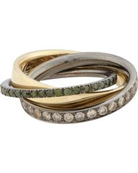Roberto Marroni | Mixed Diamond, Yellow Gold & Oxidized White Gold Tripl | Lyst