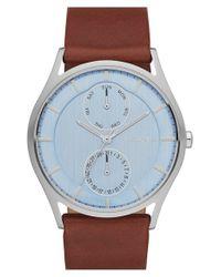 Skagen - Brown 'holst' Multifunction Leather Strap Watch - Lyst