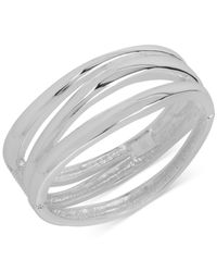 Robert Lee Morris - Metallic Silver-tone Cut-out Hinged Silver Bangle Bracelet - Lyst