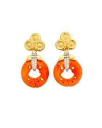 David Webb - Multicolor Coral Earrings - Carved Coral, Brilliant-cut diamonds, Hammered 18k Gold, And Platinum - Lyst