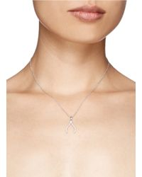 Khai Khai | Metallic 'wishbone' Diamond Pendant Necklace | Lyst