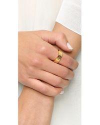 Tory Burch - Metallic Pierced T Ring - Shiny Gold - Lyst