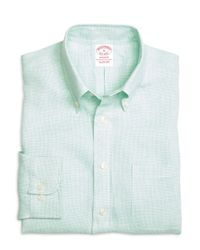 Brooks Brothers - Green Madison Fit Check Linen Sport Shirt for Men - Lyst