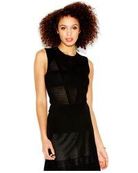 RACHEL Rachel Roy | Black Texture-blocked Knit Blouse | Lyst