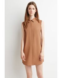 Forever 21 - Brown Collared Shift Dress - Lyst