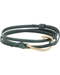 Miansai - Green Hook On Leather Wrap Bracelet for Men - Lyst