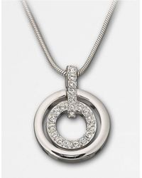 Swarovski | Metallic Double-Ring Crystal Pendant Necklace | Lyst